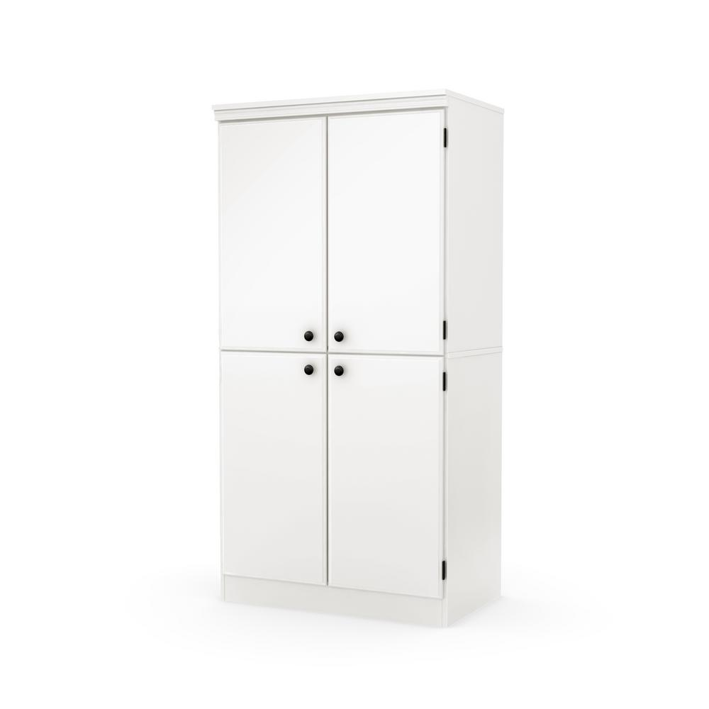 South shore morgan pure white cabinet 7260971 the home depot for South shore artwork craft table with storage pure white