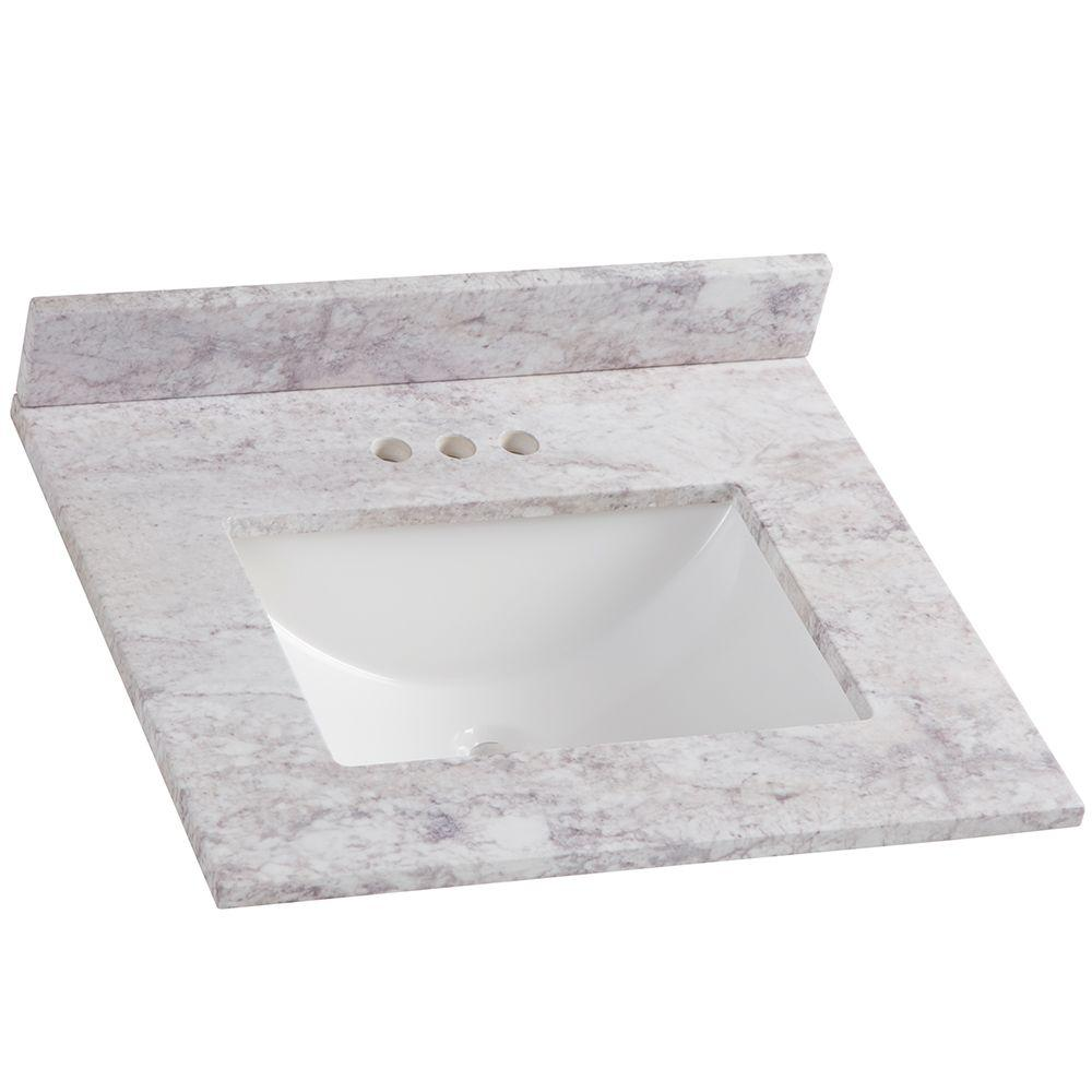 D Stone Effects Bathroom Vanity Top In Winter Mist With White Sink