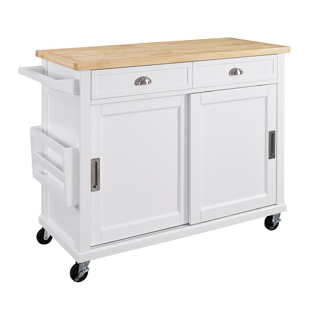 Sherman White Kitchen Cart With Storage