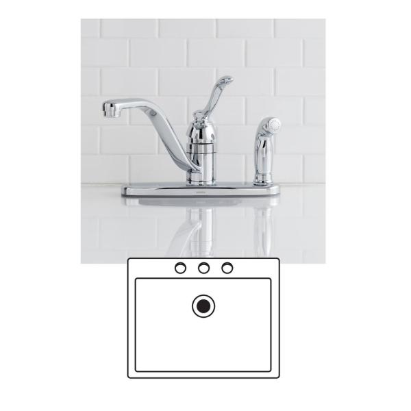 Moen Banbury Single Handle Low Arc Standard Kitchen Faucet With Side Sprayer On Deck In Chrome Ca87527 The Home Depot