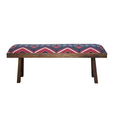 Mango Wood Bench with Navy & Red Kilim Upholstery