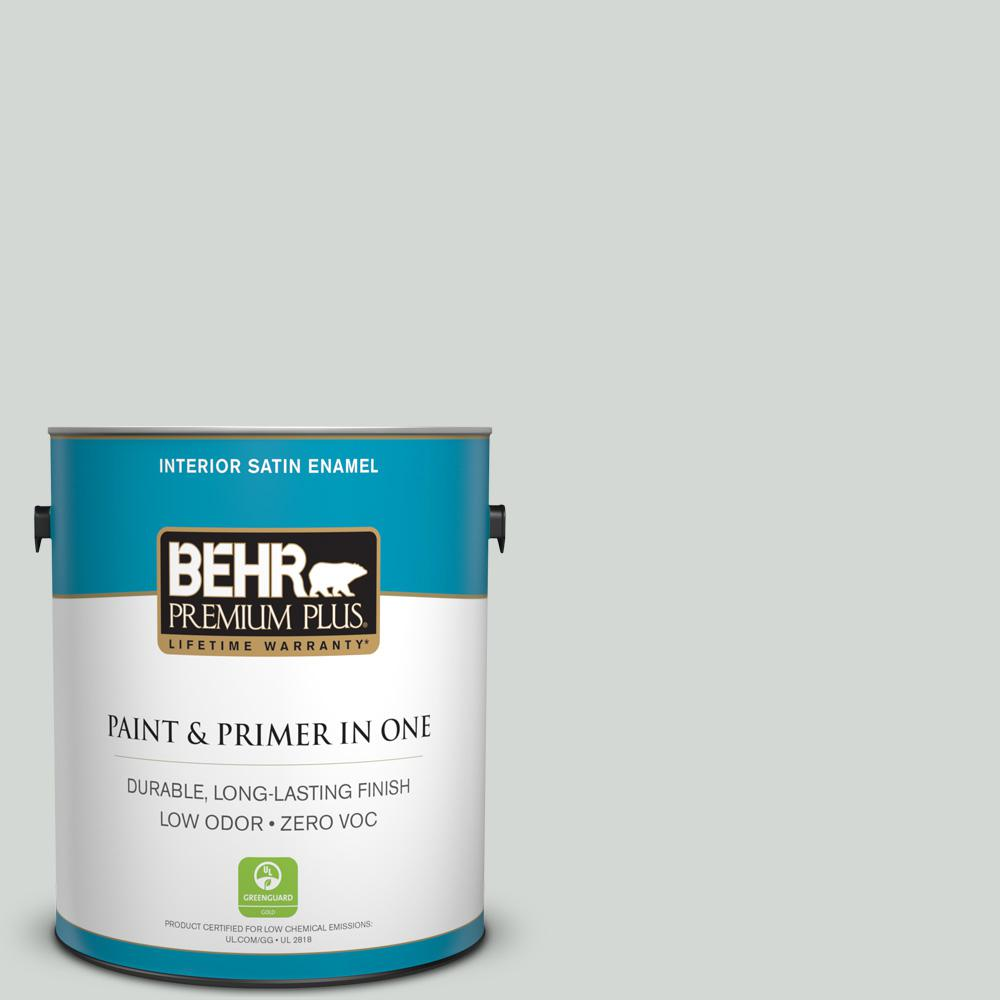 1 gal. #PPU25-13 Misty Coast Zero VOC Satin Enamel Interior Paint
