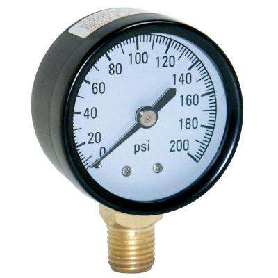 200 PSI Pressure Gauge with 1/4 in. Lower Connection