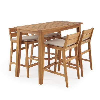 Norwell 5-Piece Wood Rectangle Outdoor Bar Height Dining Set with Beige Cushions
