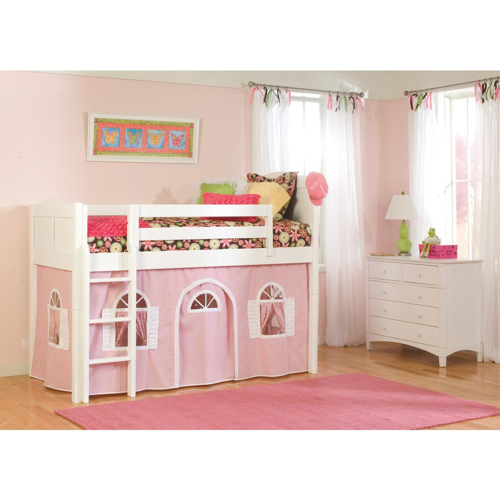 Cottage White Twin Low Loft Bed with Pink and White Bottom