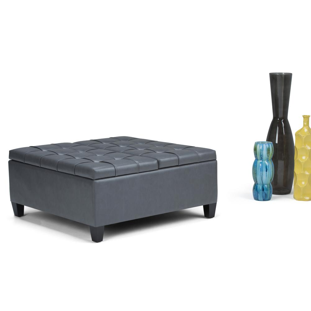 Simpli Home Harrison Stone Grey PU Faux Leather Storage Ottoman