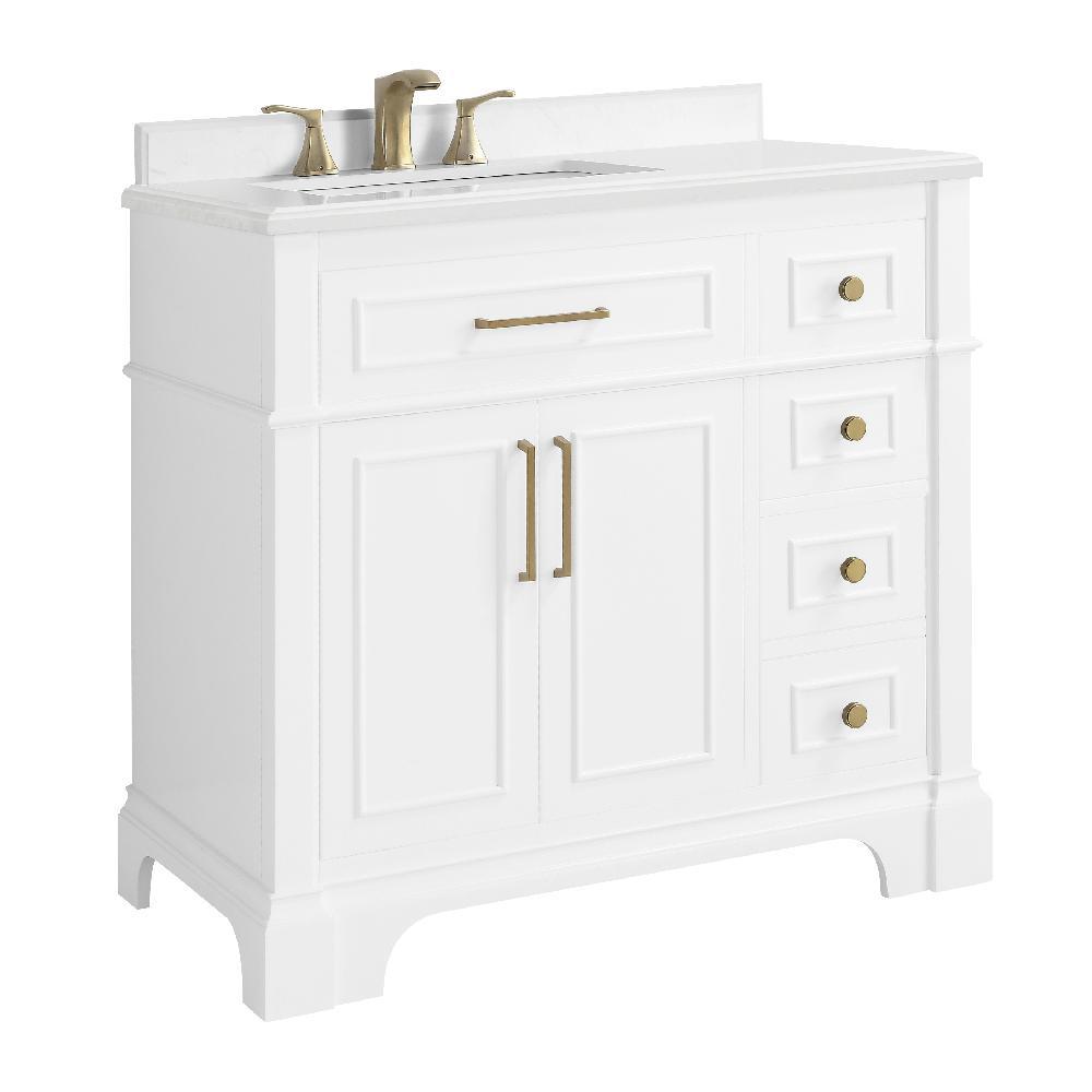 Melpark 36 in. W x 22 in. D Bath Vanity in White with Cultured Marble Vanity Top in White with White Sink