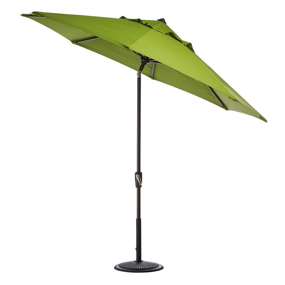 Home Decorators Collection 9 ft. Auto-Tilt Patio Umbrella in Macaw Sunbrella with Black Frame