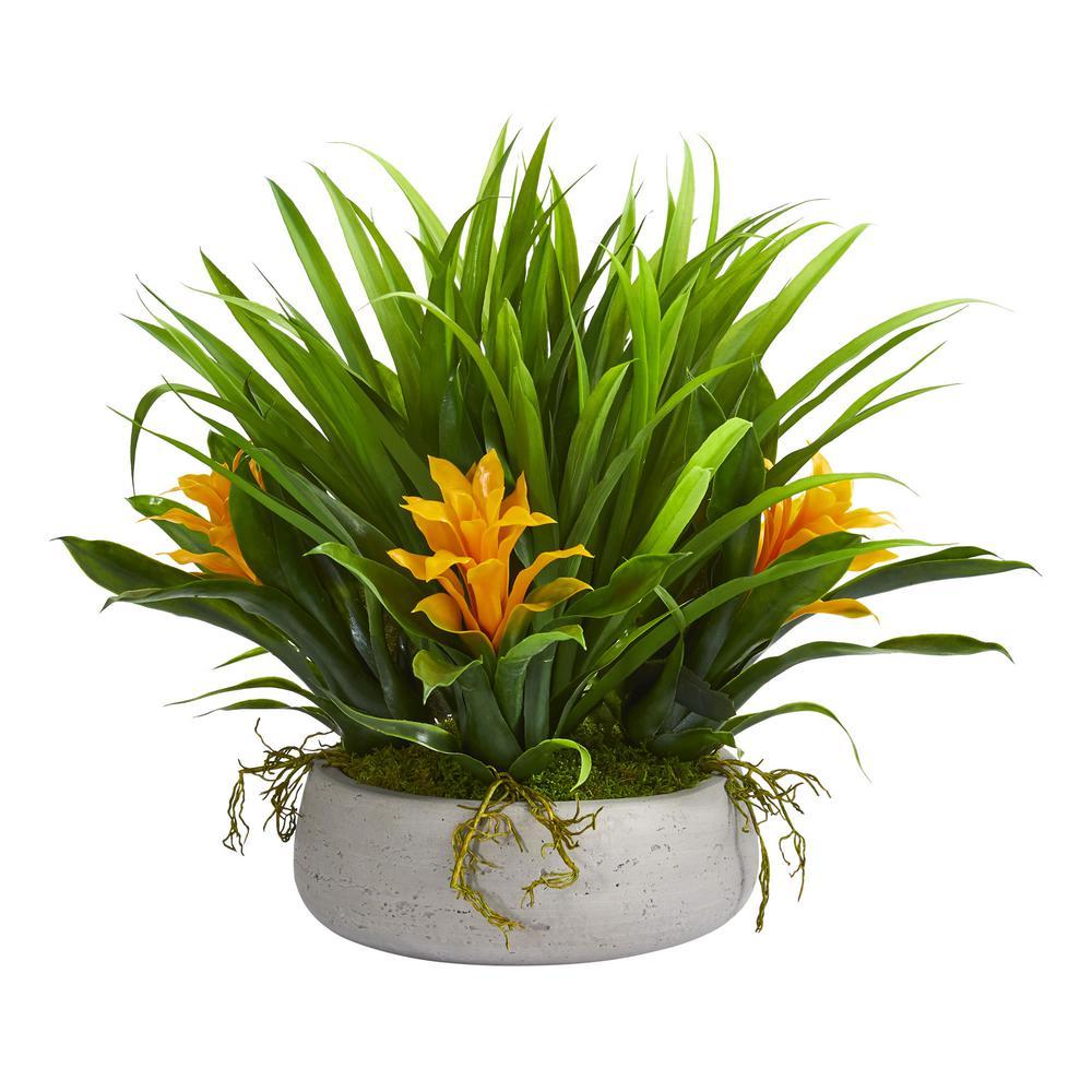 Indoor 16 in. Bromeliad and Grass Artificial Plant in Ceramic Vase