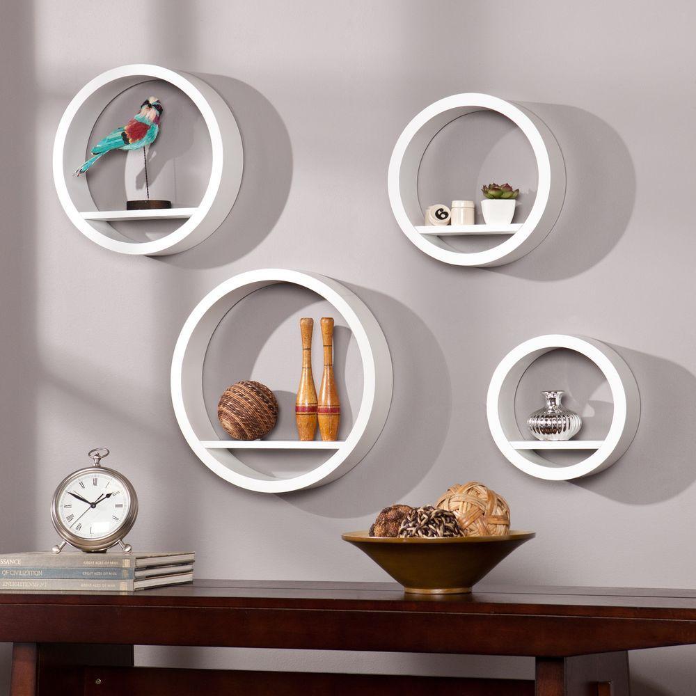 Maribel Circle 4 Decorative Shelf in White