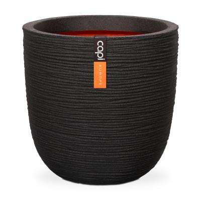 13.77 in. x 13.38 in. Ribbed Black Plastic and Wood Fiber Planter