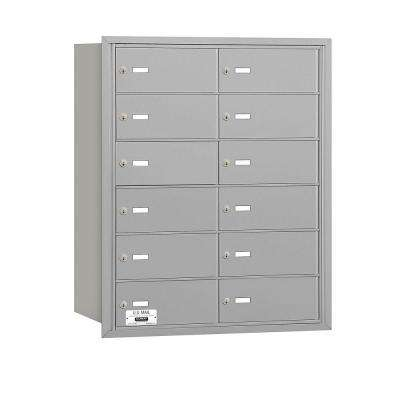 3600 Series Aluminum Private Rear Loading 4B Plus Horizontal Mailbox with 12B Doors