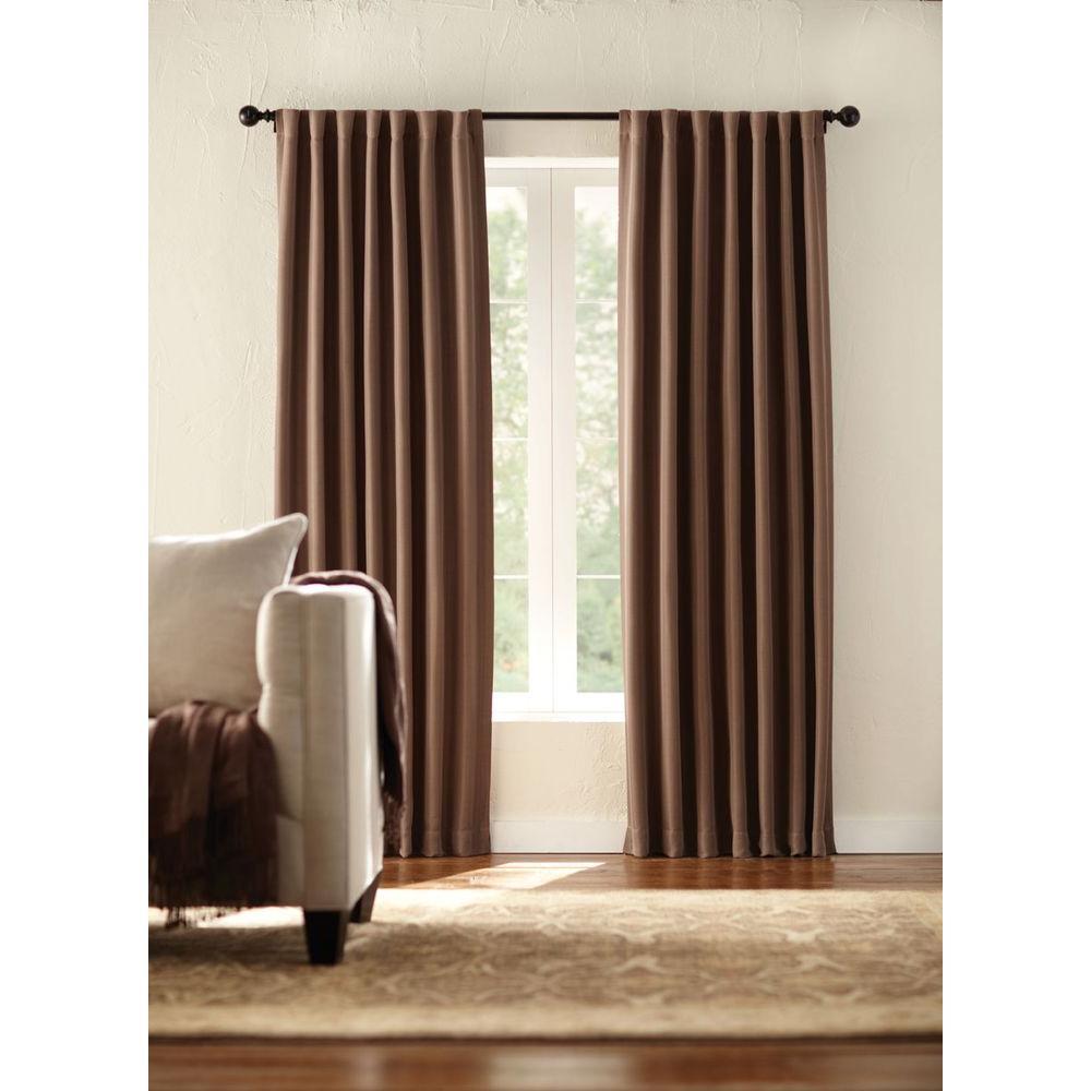 Semi-Opaque Mocha Room Darkening Back Tab Curtain