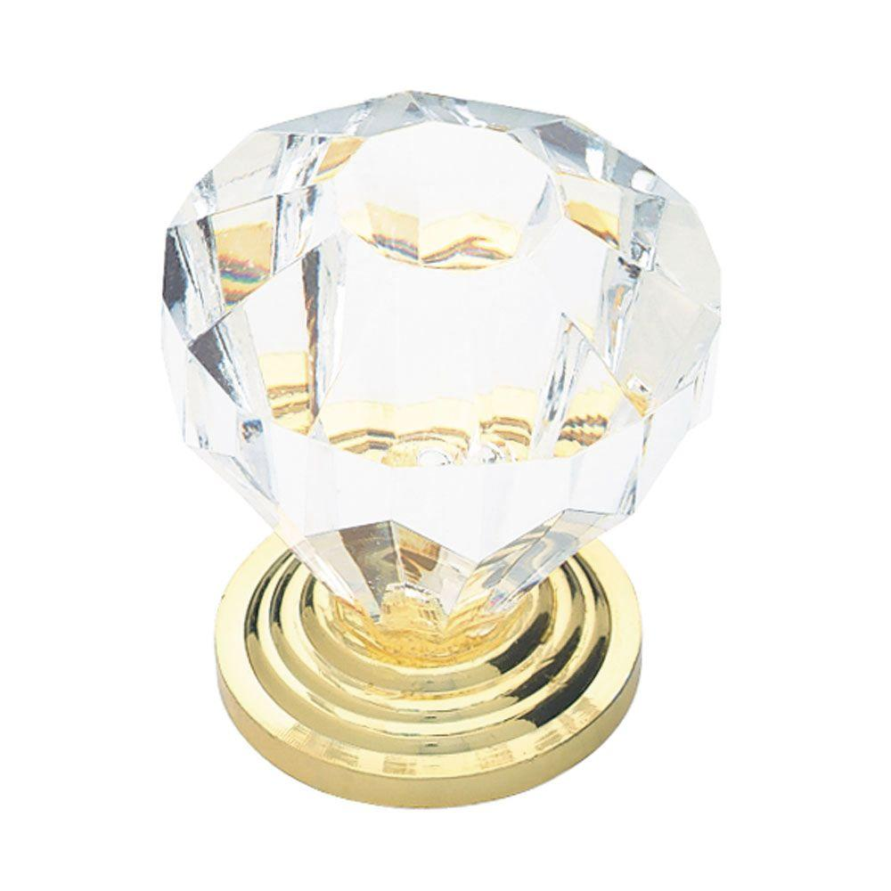 Brass With Clear Faceted Acrylic Cabinet Knob