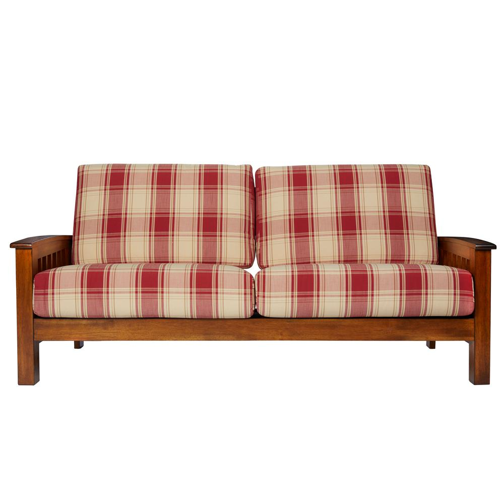 Handy Living Omaha Mission Style Sofa With Exposed Wood