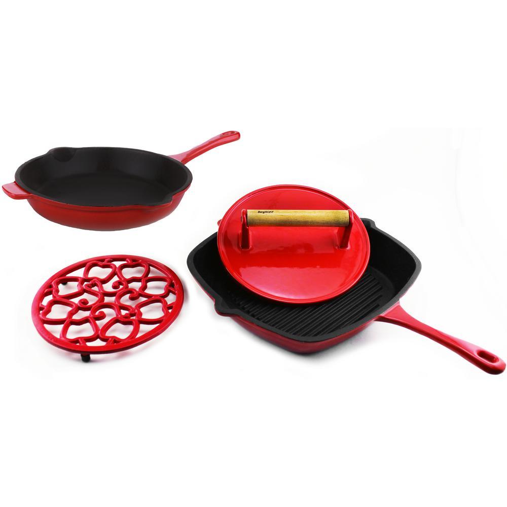Neo 4 Piece Cast Iron Red Cookware Set