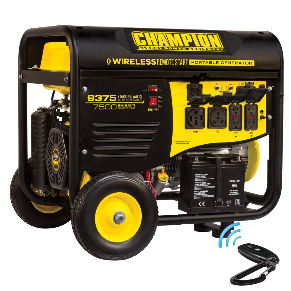 Champion Power Equipment 7,500-Watt Gasoline Powered Wireless Remote Start  Portable Generator with Champion 439 cc Engine