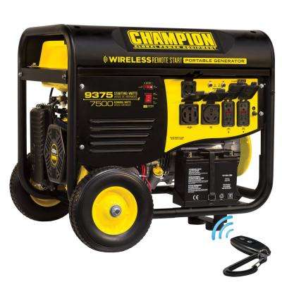 7,500-Watt Gasoline Powered Wireless Remote Start Portable Generator with  Champion 439 cc Engine