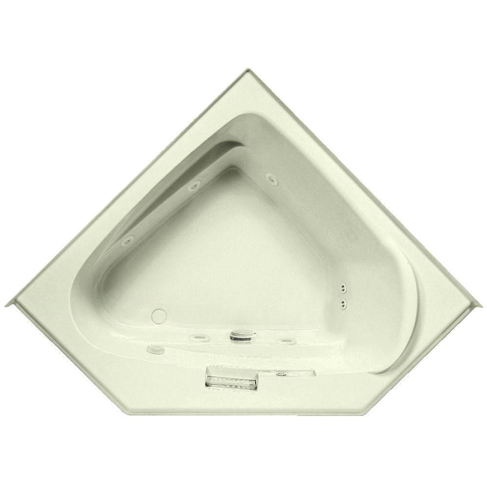 Delphinius 5 ft. Left Drain Acrylic Whirlpool Bath Tub in Biscuit