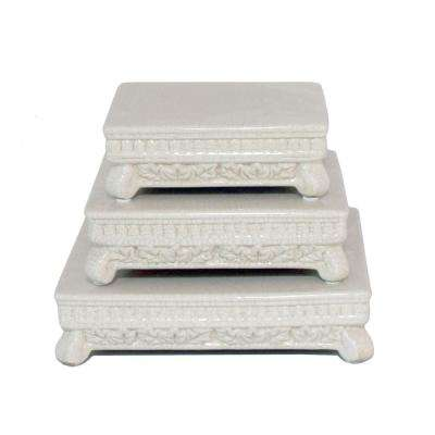 White Pedestal Set (Set of 3)