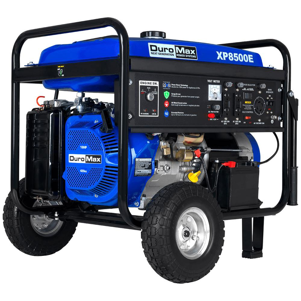 Duromax 7000-Watt Gasoline Powered Electric Start Portable Generator with  Wheel Kit