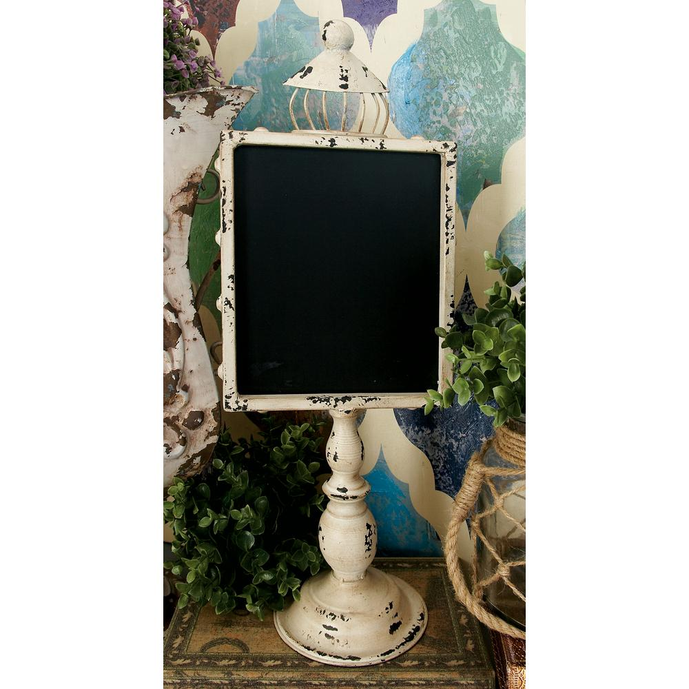 21 in. Rustic Wooden Chalkboards with White and Black Iron Stands