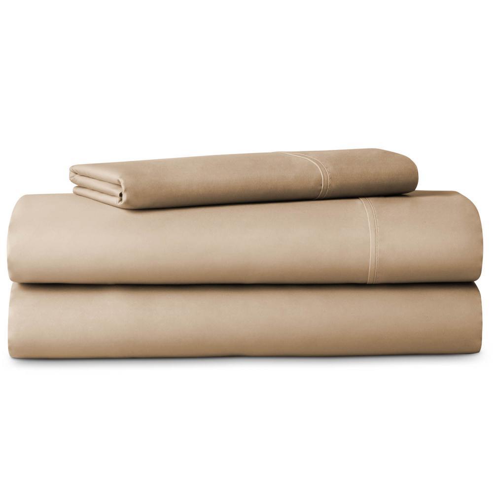 3 Piece Tan 600 Thread Count Cotton Blend Twin Sheet Set