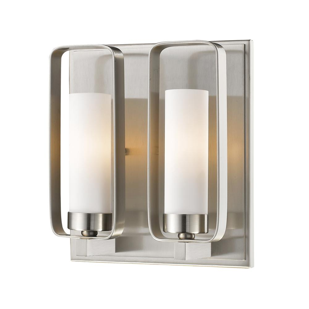 Filament Design Austin 2 Light Brushed Nickel Wall Sconce HD TE81989   The  Home Depot