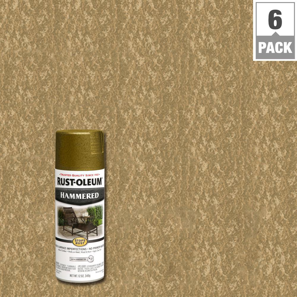 Rust-Oleum Stops Rust 12 oz. Gold Protective Enamel Hammered Spray Paint (6-Pack)