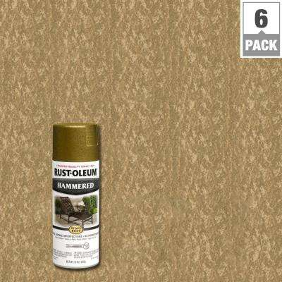 12 oz. Gold Protective Enamel Hammered Spray Paint (6-Pack)