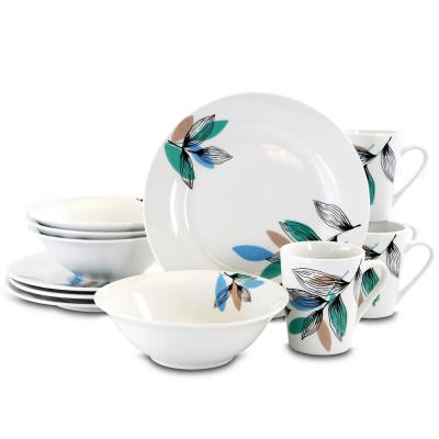 Vinyard Blue 12-Piece Casual White Ceramic Dinnerware Set (Service for 4)