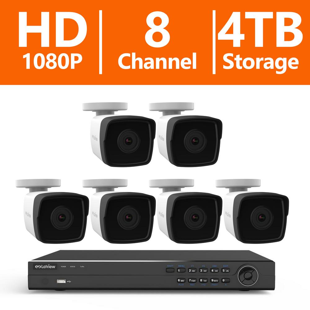 8-Channel 1080P IP Surveillance 4TB NVR Security System (6) 1080P Wired