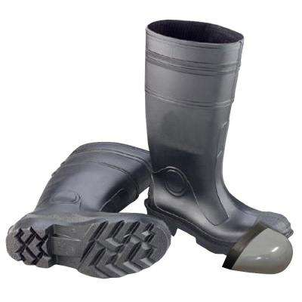 Men's Size 9 PVC Steel Toe Waterproof Work Boots, Black