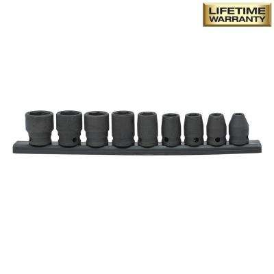 3/8 in. Drive Standard SAE Impact Socket Set (9-Piece)