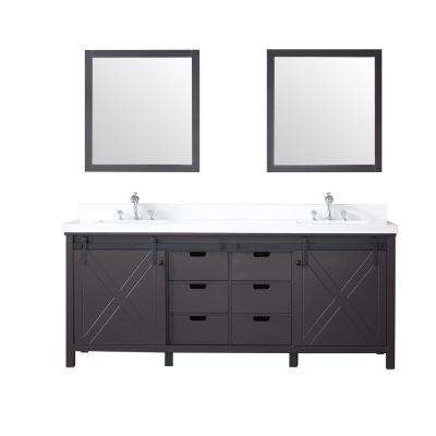 Marsyas 80 in. Double Bath Vanity in Brown w/ White Quartz Top w/ White Square Sinks and 30 in. Mirrors