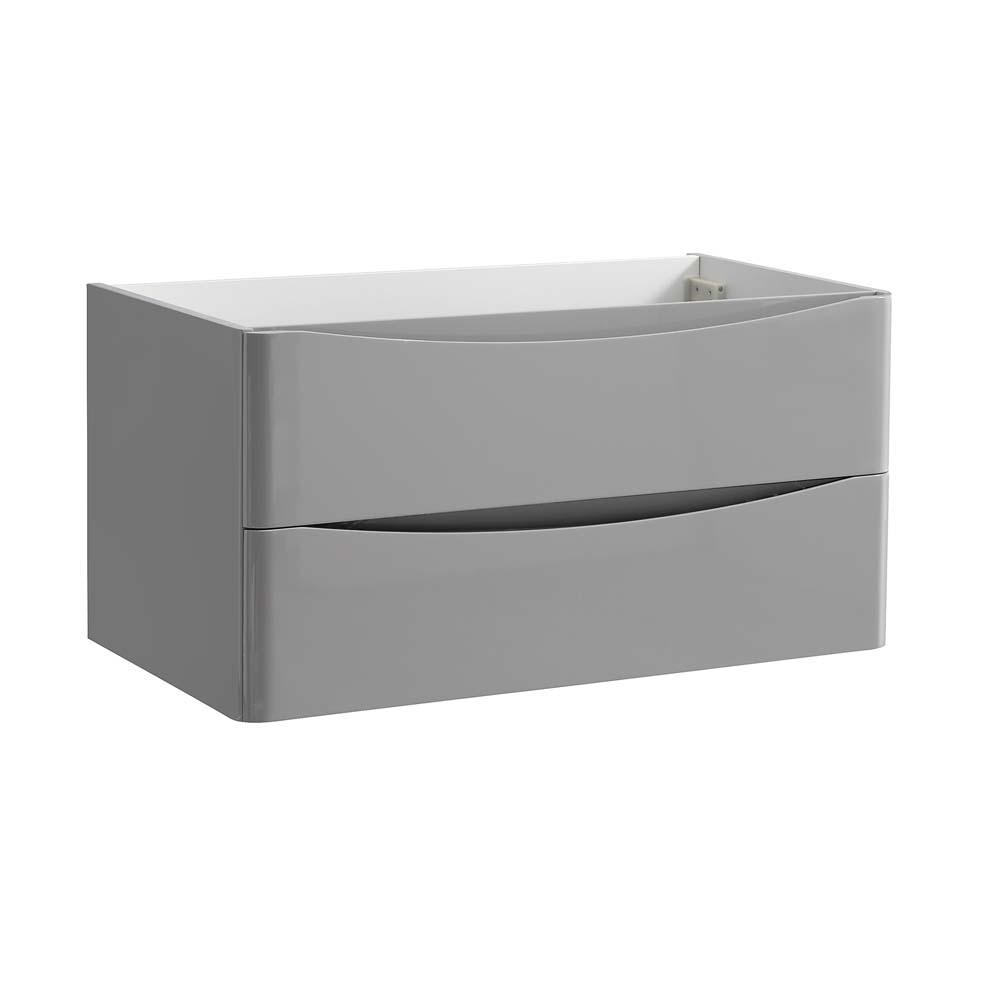 Fresca tuscany 36 in modern wall hung bath vanity cabinet only in glossy gray fcb9036grg the for Wall mounted bathroom vanity cabinet only