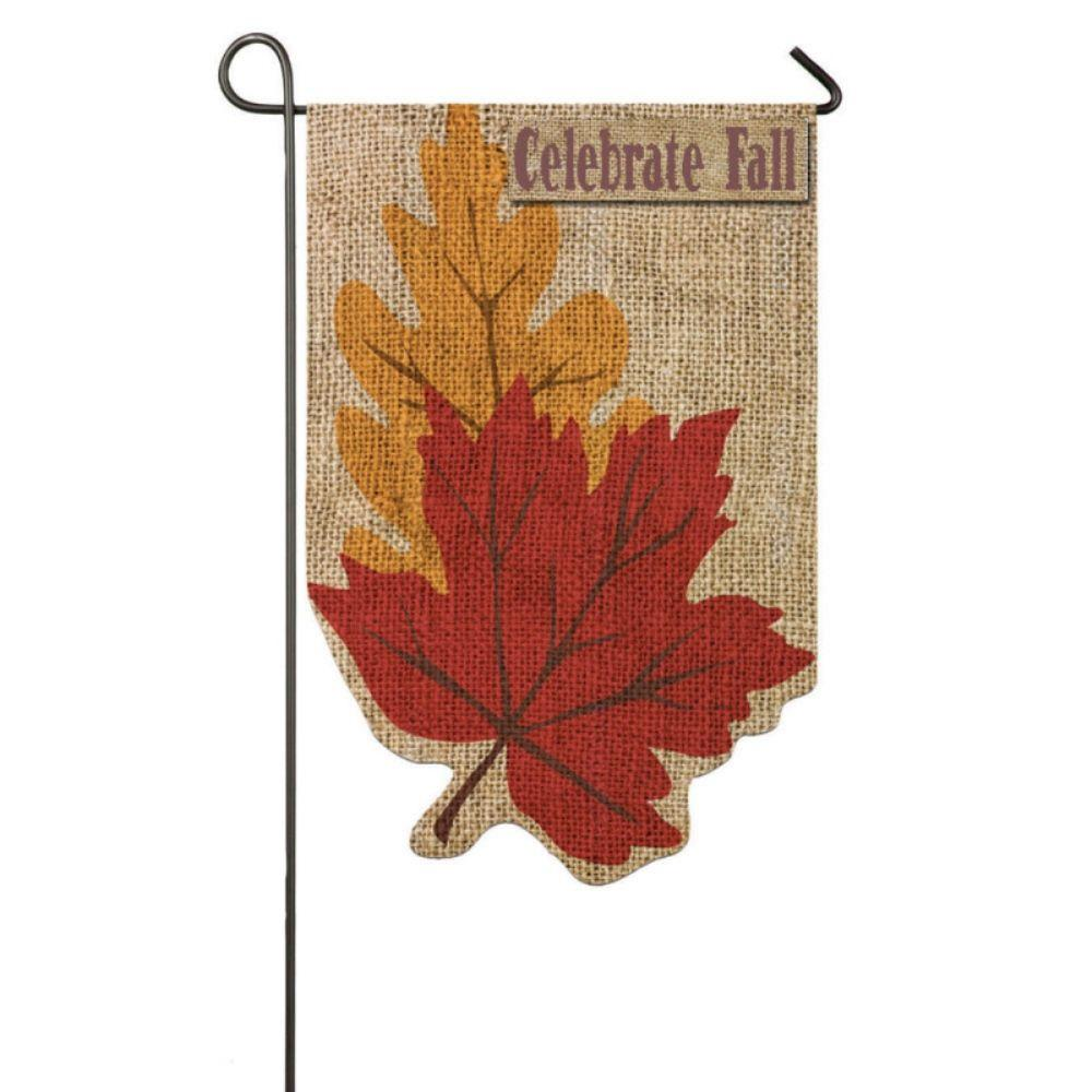 Evergreen 1 Ft X 1 1 2 Ft Burlap Welcome Fall Leaves 2 Sided Garden Flag 14b3057 The Home Depot