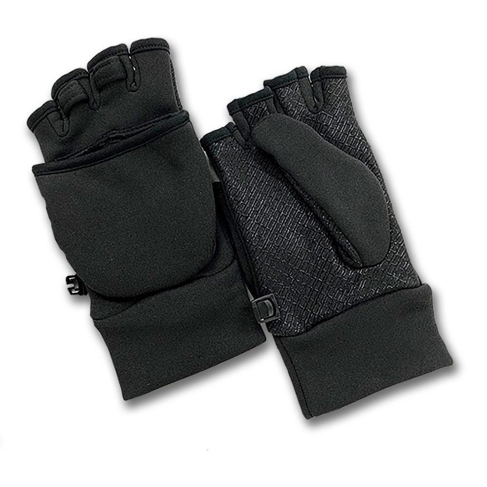 Ladies Softshell Black Multi-Purpose Flip-Top Glove (1 Size Fits Most)