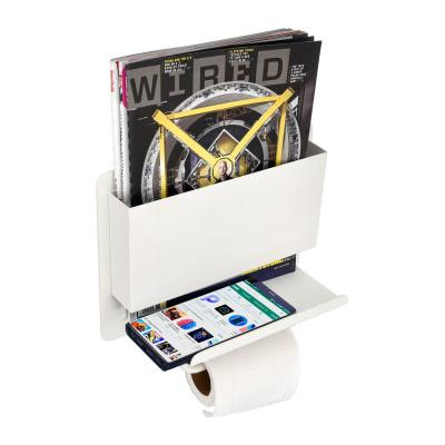 Single Post Toilet Paper Holder with Shelf and Magazine Holder in White