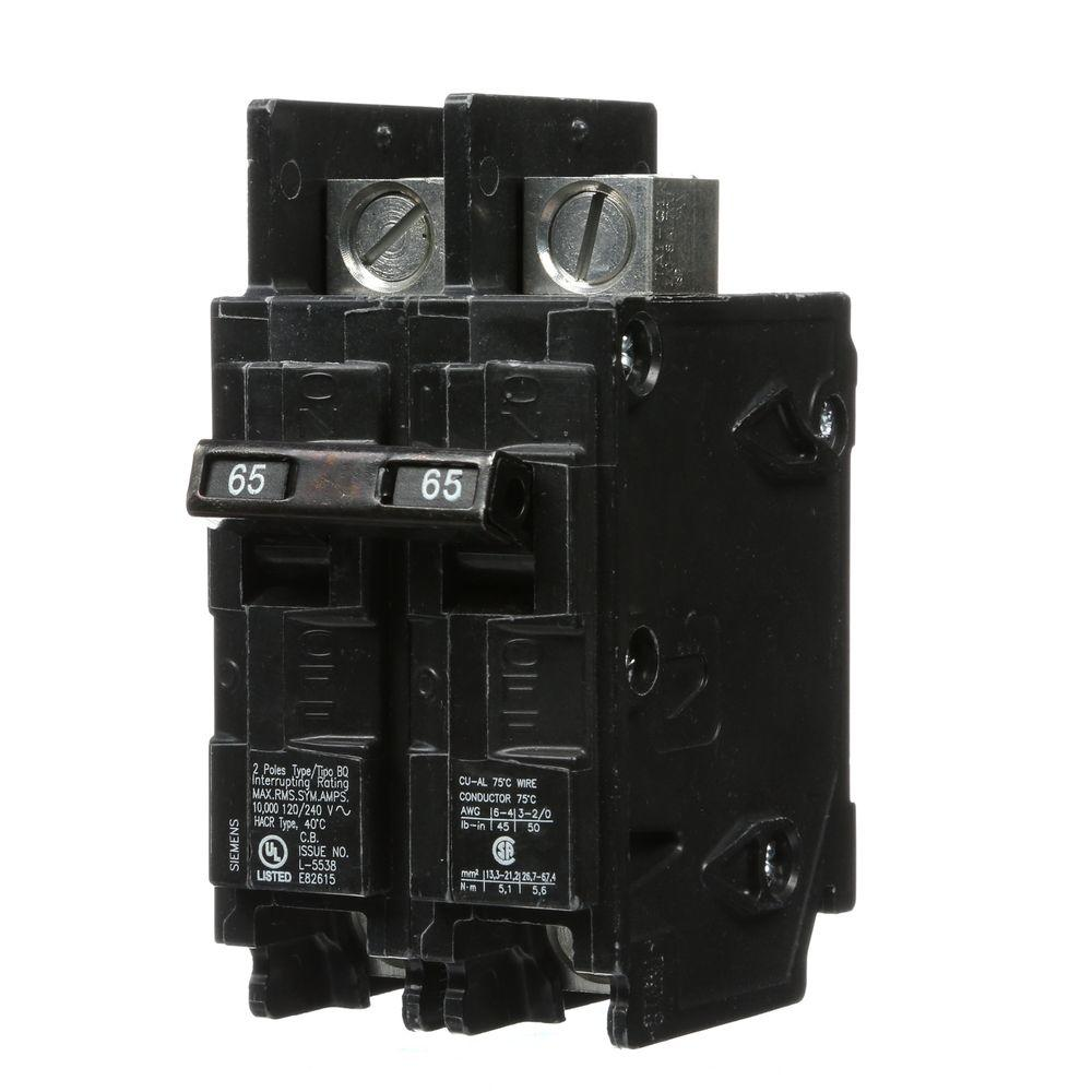 Siemens 65 Amp Double-Pole Type BQ 10 kA Lug-In/Lug-Out Circuit Breaker with Line Side Lugs