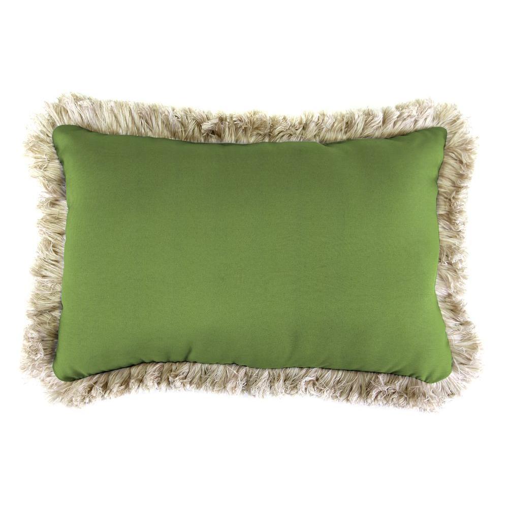 Jordan Manufacturing Sunbrella 9 in. x 22 in. Canvas Gingko Lumbar Outdoor Pillow with Canvas Fringe