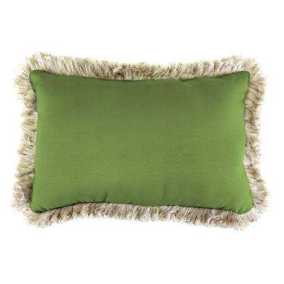 Sunbrella 9 in. x 22 in. Canvas Gingko Lumbar Outdoor Pillow with Canvas Fringe
