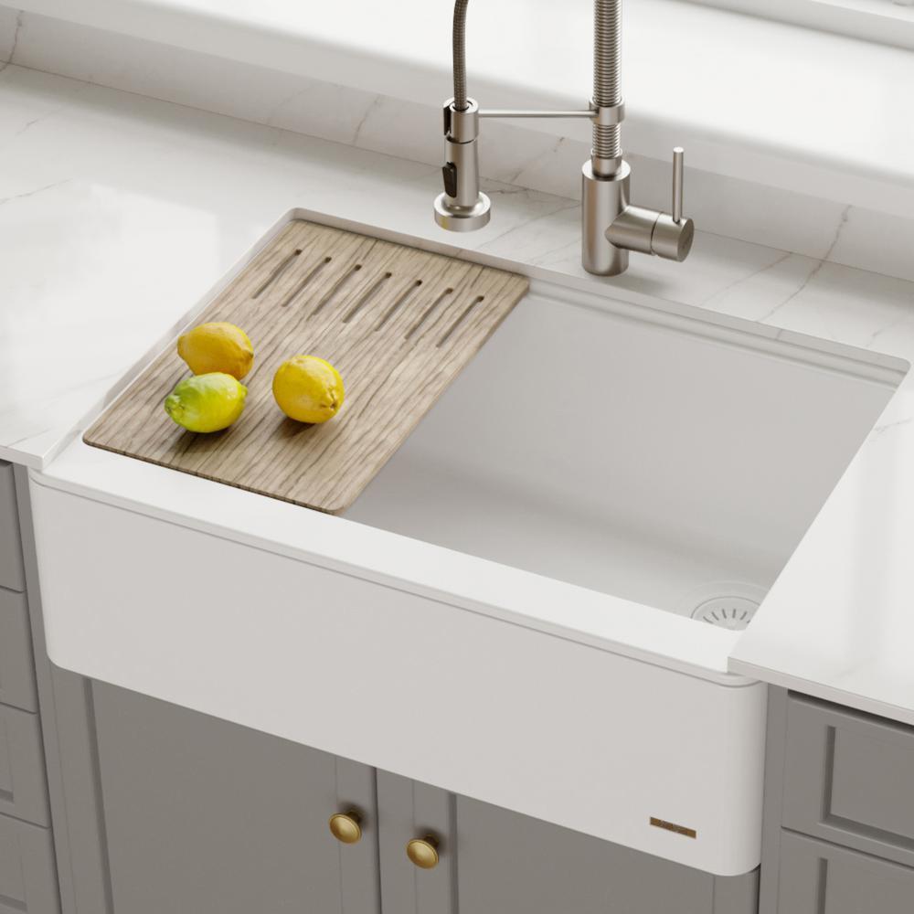 Bellucci 30in. CeramTek Granite/Quartz Composite Farmhouse ApronFront Single Bowl Kitchen Sink w/ Cutting Board in White