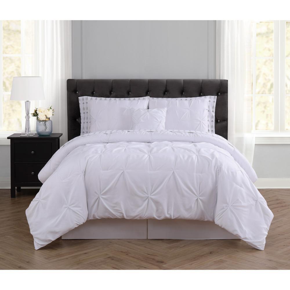 Arrow Pleated 8-Piece White Queen Comforter Set
