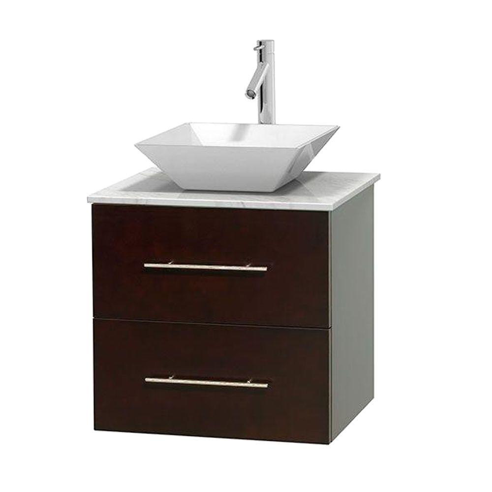 Wyndham Collection Centra 24 in. Vanity in Espresso with Marble Vanity Top in Carrara White and Porcelain Sink