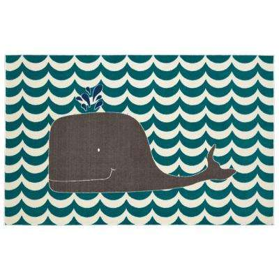 Oh Whale Blue 5 ft. x 8 ft. Area Rug