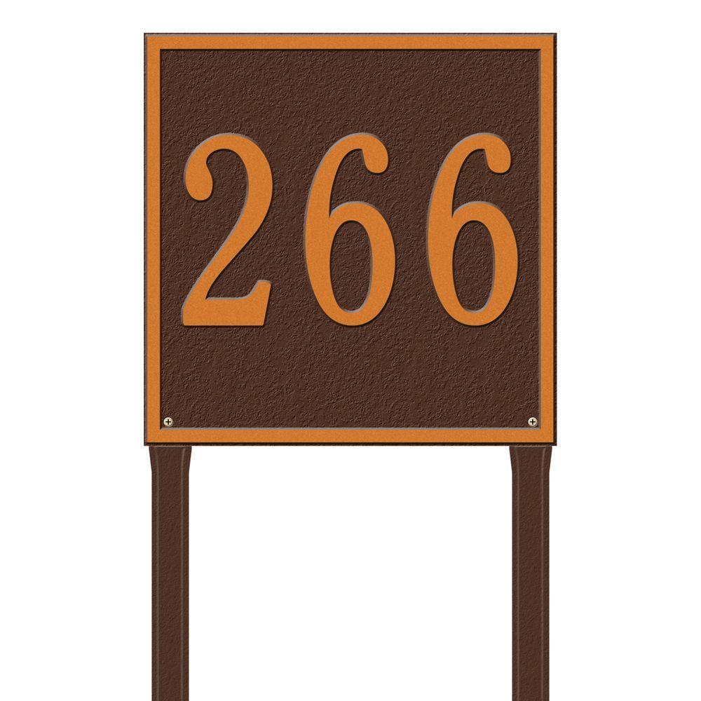 Square Estate Lawn 1-Line Address Plaque - Antique Copper