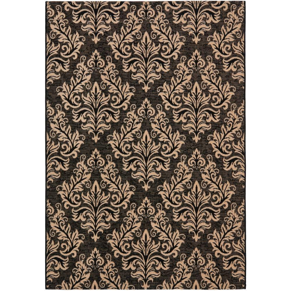 Safavieh Courtyard Black/Cream 9 ft. x 12 ft. Indoor/Outdoor Area Rug
