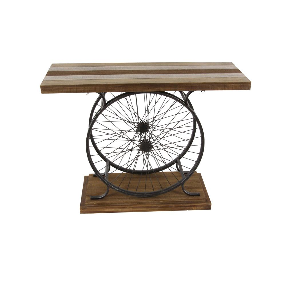 Rustic Traditional Wood And Iron Wheel Console Table 59444