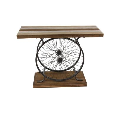 Litton Lane Rustic Traditional Wood and Iron Wheel Console Table, Brown